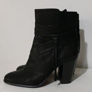 Vince Camuto Blk Leather Ferrah Ankle Boots Sz 8.5